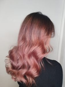 highlights and lowlights pink rose gold Cardiff Hairdressers