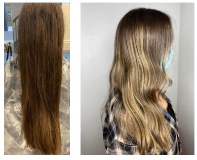 Before and after colour correction Michelle Marshall top Cardiff hairdressers